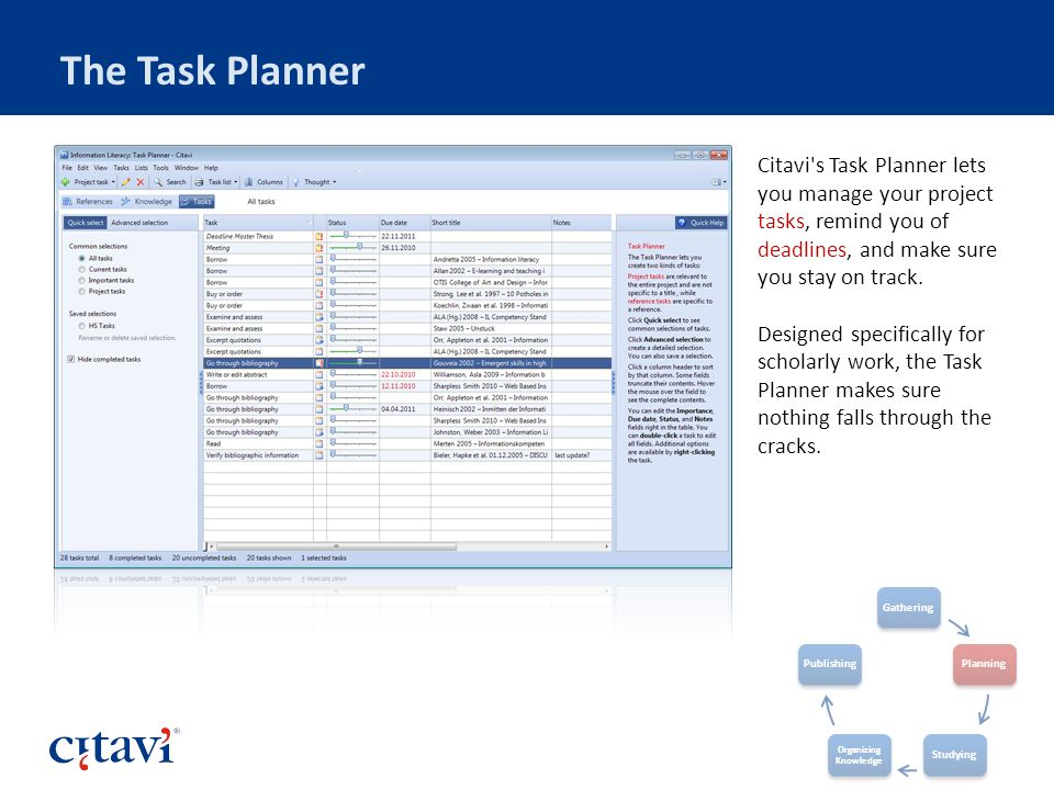 The Task Planner Citavi's Task Planner lets you manage your project tasks, remind you of deadlines, and make sure you stay on track. Designed specific