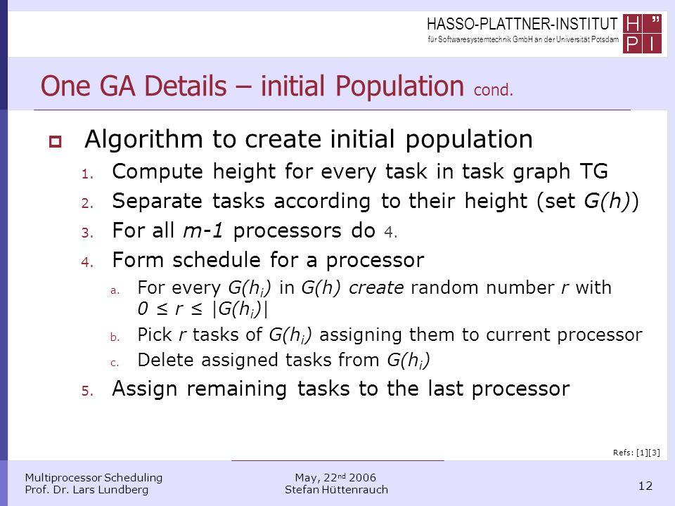HASSO-PLATTNER-INSTITUT für Softwaresystemtechnik GmbH an der Universität Potsdam Multiprocessor Scheduling Prof. Dr. Lars Lundberg 12 May, 22 nd 2006
