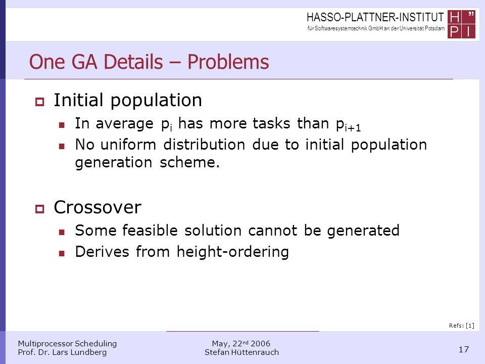 HASSO-PLATTNER-INSTITUT für Softwaresystemtechnik GmbH an der Universität Potsdam Multiprocessor Scheduling Prof. Dr. Lars Lundberg 17 May, 22 nd 2006