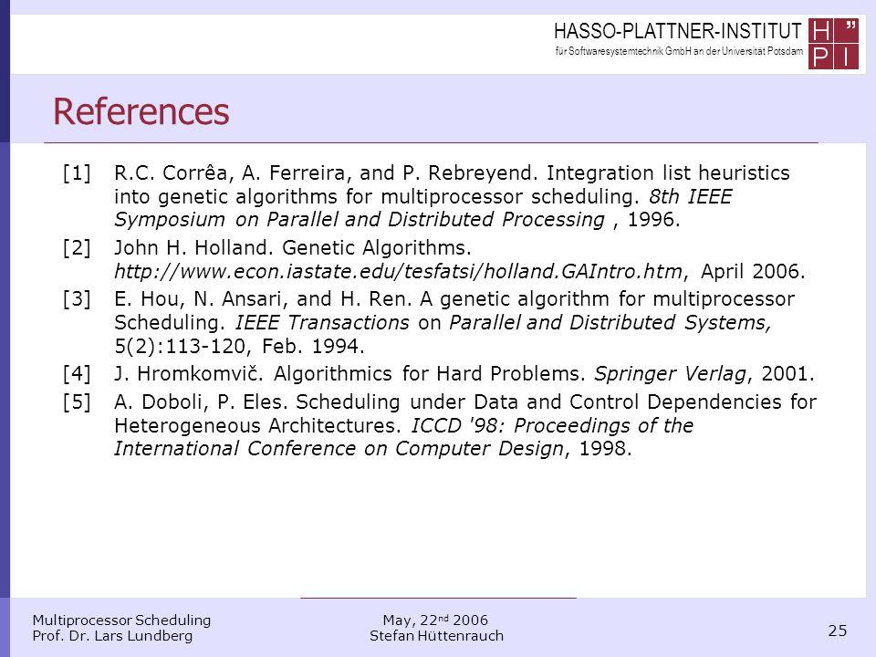 HASSO-PLATTNER-INSTITUT für Softwaresystemtechnik GmbH an der Universität Potsdam Multiprocessor Scheduling Prof. Dr. Lars Lundberg 25 May, 22 nd 2006