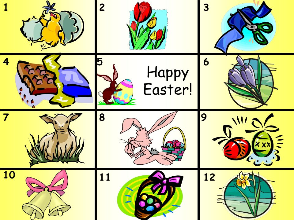 1 32 456 789 10 1112 Happy Easter!