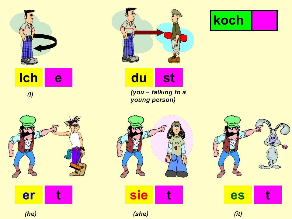 Ichdu ersiees (I) (you – talking to a young person) (he)(she)(it) est ttt kochen