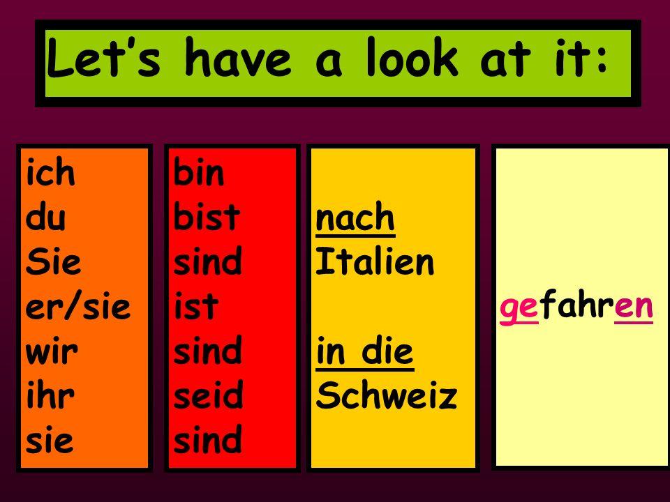 Lets have a look at it: ich du Sie er/sie wir ihr sie bin bist sind ist sind seid sind nach Italien in die Schweiz gefahren