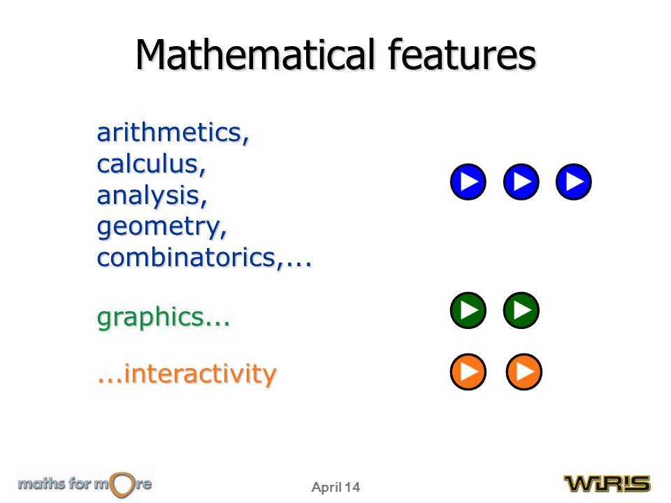 April 14 arithmetics,calculus,analysis,geometry,combinatorics,... graphics......interactivity Mathematical features