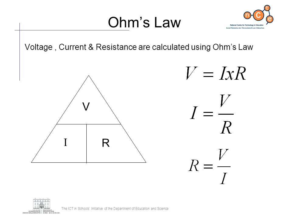 The ICT in Schools Initiative of the Department of Education and Science Ohms Law Voltage, Current & Resistance are calculated using Ohms Law V I R