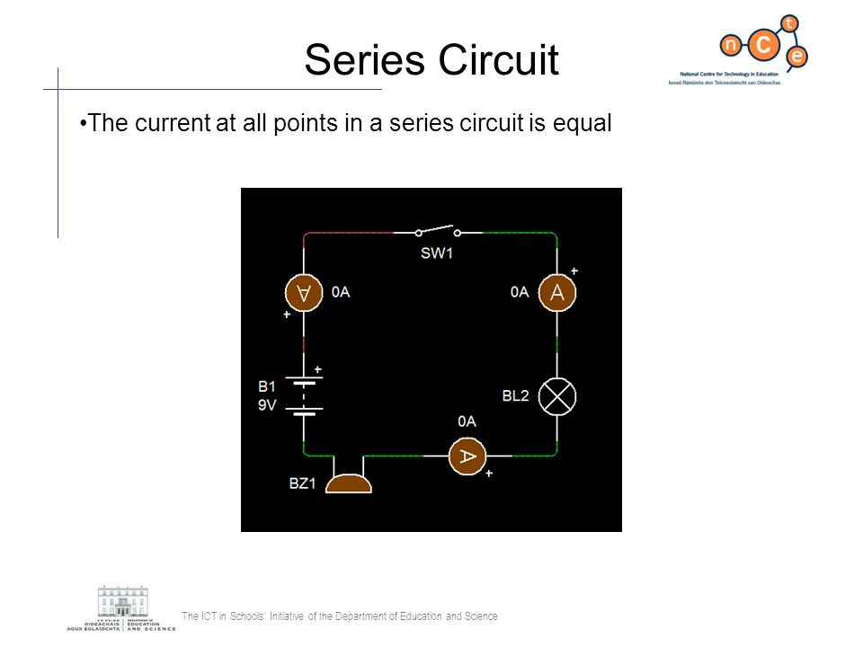 The ICT in Schools Initiative of the Department of Education and Science Series Circuit The current at all points in a series circuit is equal