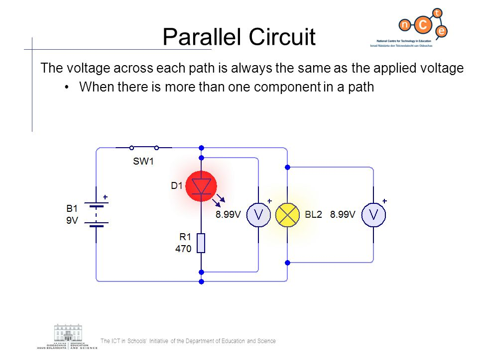 The ICT in Schools Initiative of the Department of Education and Science Parallel Circuit The voltage across each path is always the same as the appli