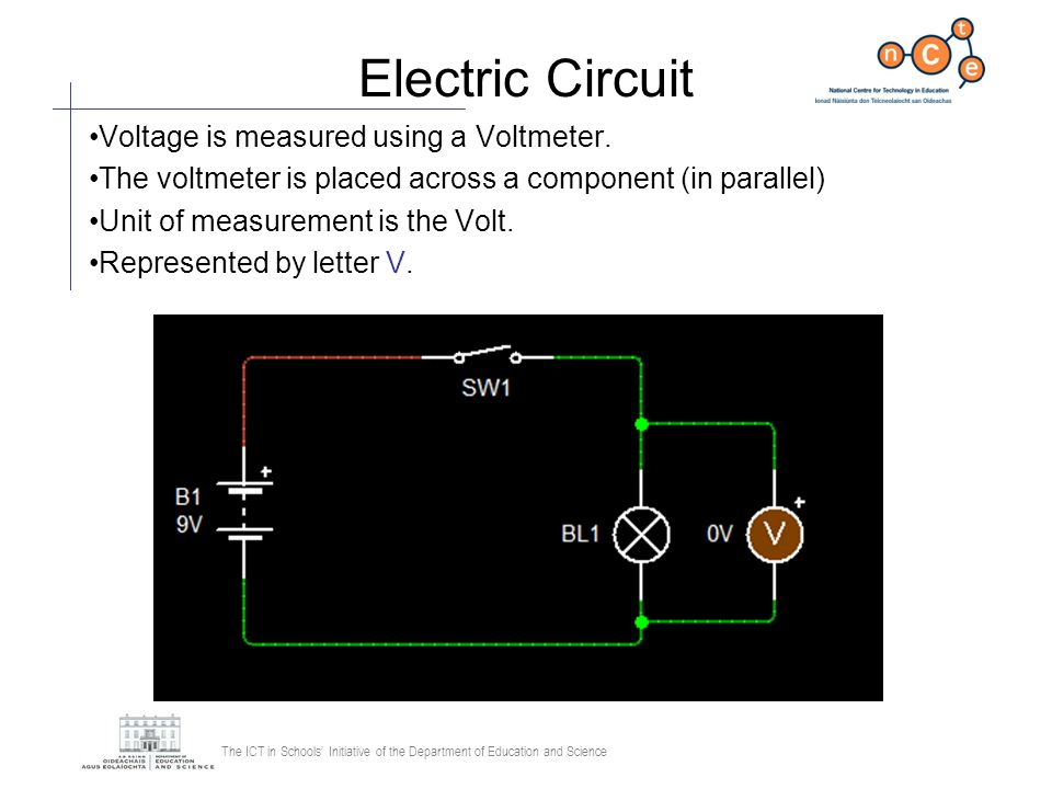 The ICT in Schools Initiative of the Department of Education and Science Parallel Circuit The voltage across each path is always the same as the applied voltage When there is more than one component in a path