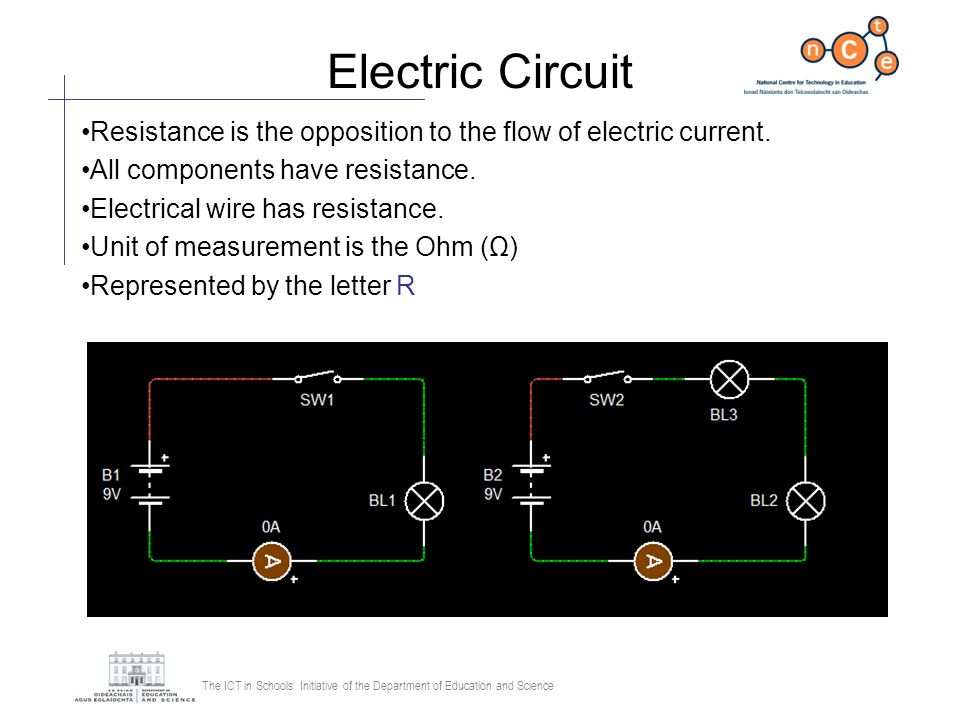 The ICT in Schools Initiative of the Department of Education and Science Electric Circuit Resistance is the opposition to the flow of electric current