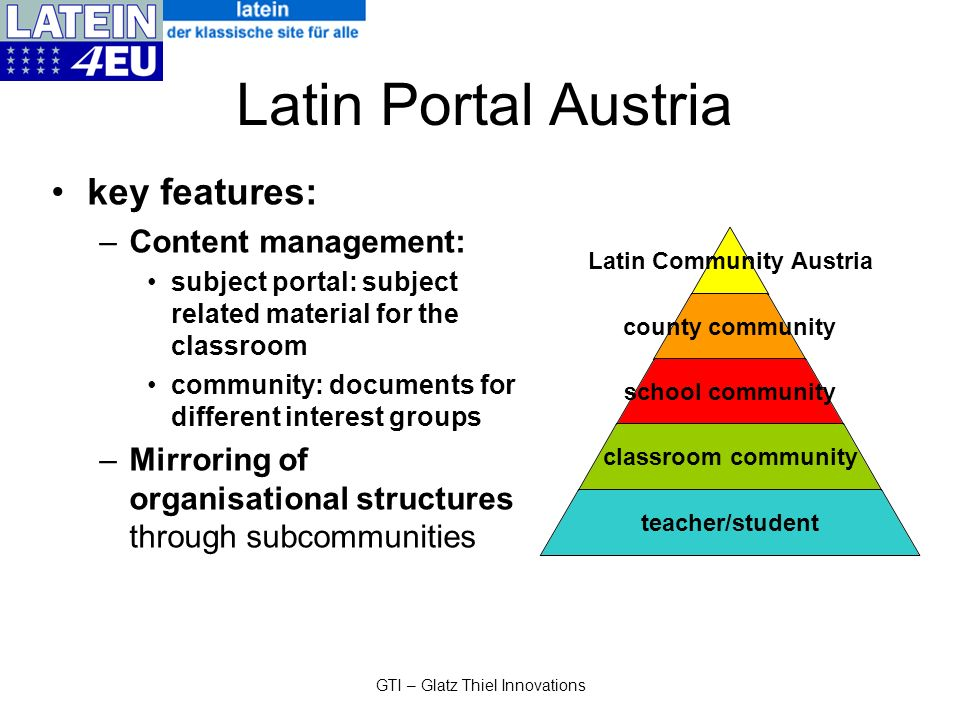 GTI – Glatz Thiel Innovations Latin Portal Austria key features: –Content management: subject portal: subject related material for the classroom commu