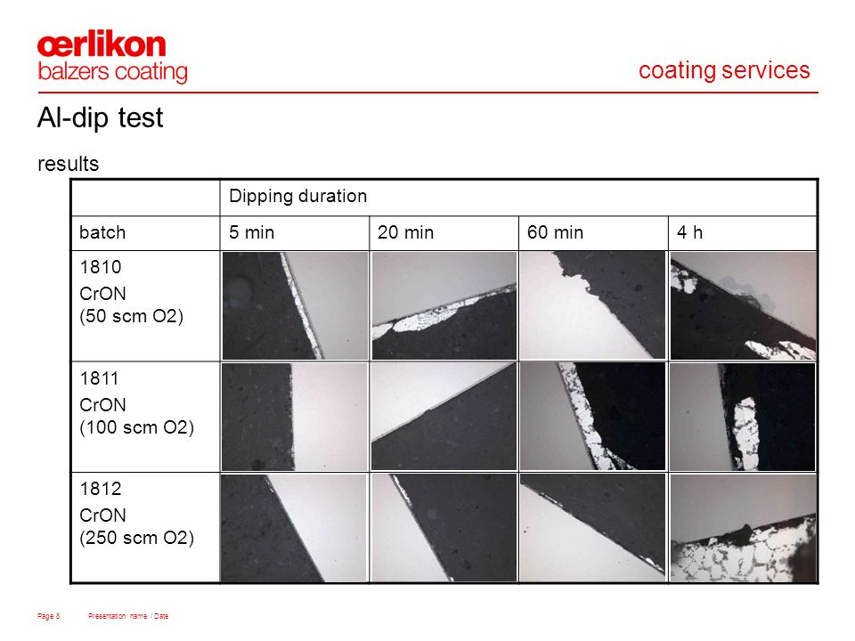 coating services Page 8 Presentation name / Date results Al-dip test Dipping duration batch5 min20 min60 min4 h 1810 CrON (50 scm O2) 1811 CrON (100 scm O2) 1812 CrON (250 scm O2)