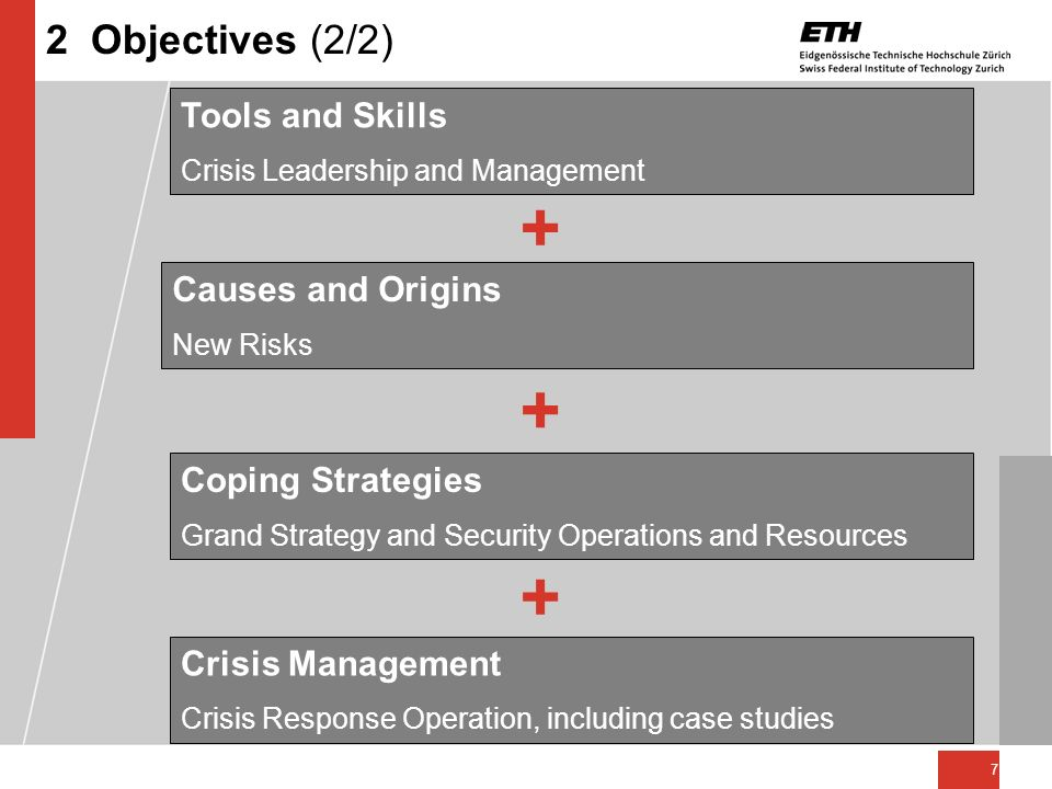 7 2 Objectives (2/2) Tools and Skills Crisis Leadership and Management Causes and Origins New Risks Coping Strategies Grand Strategy and Security Oper