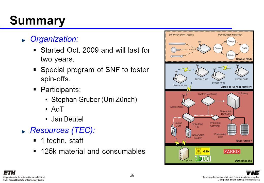 10 Computer Engineering and Networks Technische Informatik und Kommunikationsnetze Summary Organization: Started Oct. 2009 and will last for two years