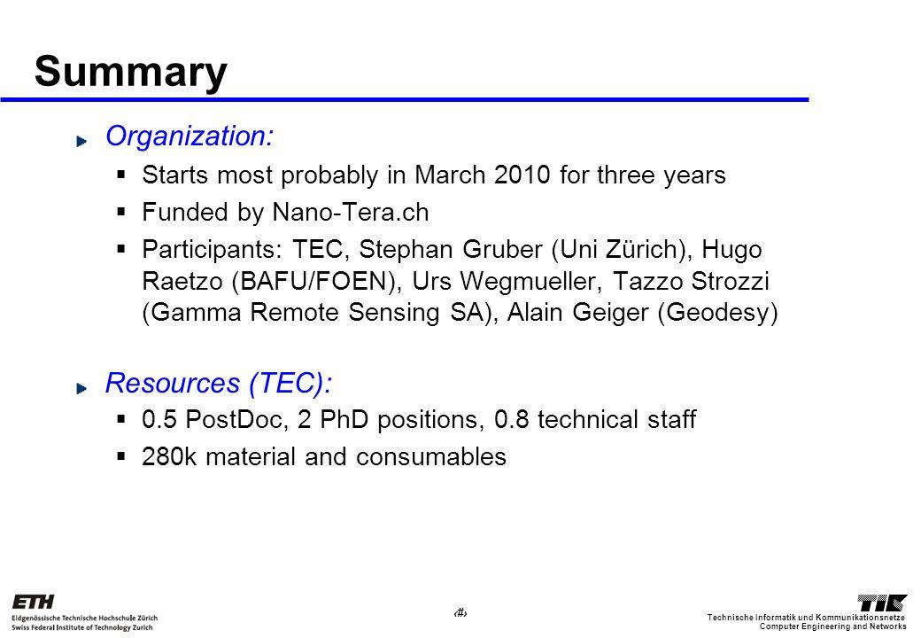 15 Computer Engineering and Networks Technische Informatik und Kommunikationsnetze Summary Organization: Starts most probably in March 2010 for three