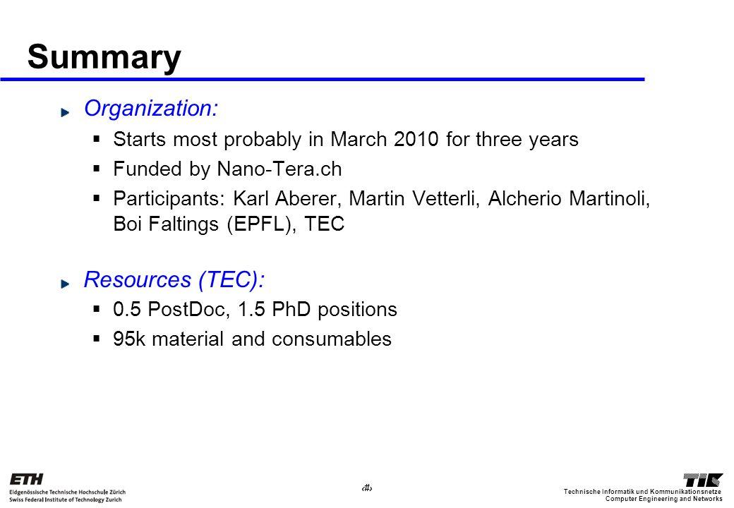 23 Computer Engineering and Networks Technische Informatik und Kommunikationsnetze Summary Organization: Starts most probably in March 2010 for three