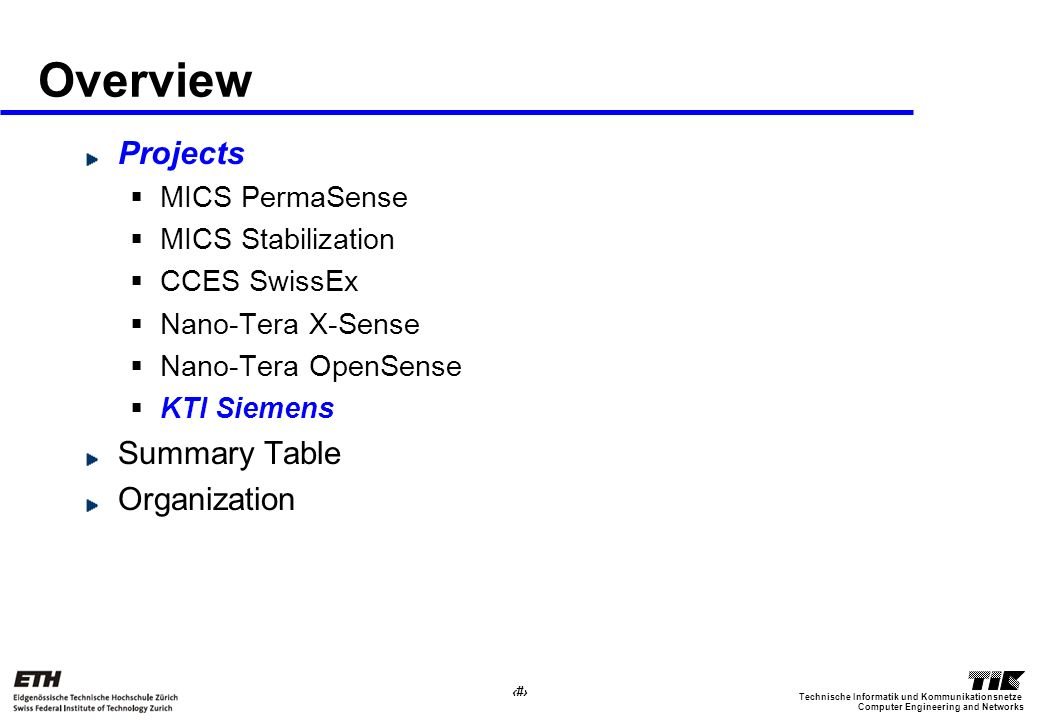 29 Computer Engineering and Networks Technische Informatik und Kommunikationsnetze Overview Projects MICS PermaSense MICS Stabilization CCES SwissEx Nano-Tera X-Sense Nano-Tera OpenSense KTI Siemens Summary Table Organization