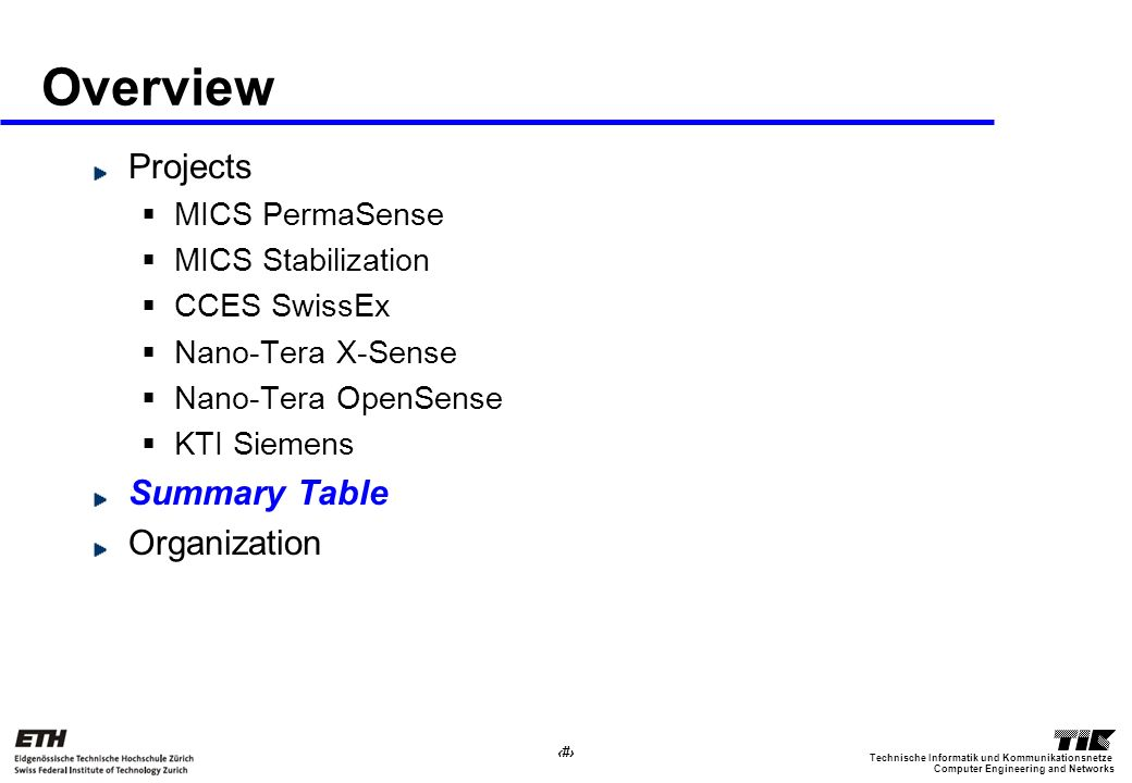 32 Computer Engineering and Networks Technische Informatik und Kommunikationsnetze Overview Projects MICS PermaSense MICS Stabilization CCES SwissEx Nano-Tera X-Sense Nano-Tera OpenSense KTI Siemens Summary Table Organization