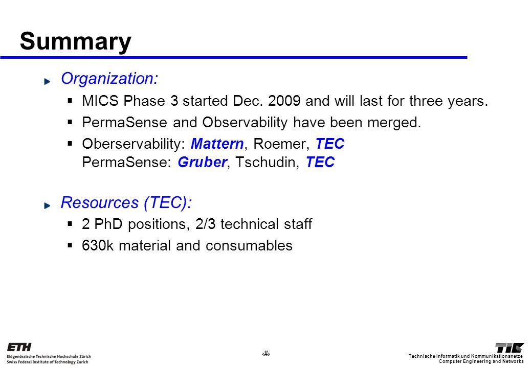 4 Computer Engineering and Networks Technische Informatik und Kommunikationsnetze Summary Organization: MICS Phase 3 started Dec. 2009 and will last f