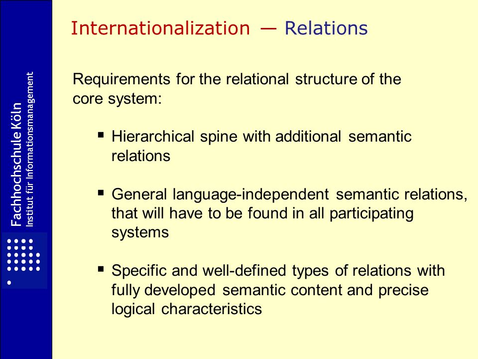 Requirements for the relational structure of the core system: Hierarchical spine with additional semantic relations General language-independent semantic relations, that will have to be found in all participating systems Specific and well-defined types of relations with fully developed semantic content and precise logical characteristics Internationalization Relations Fachhochschule Köln Institut für Informationsmanagement