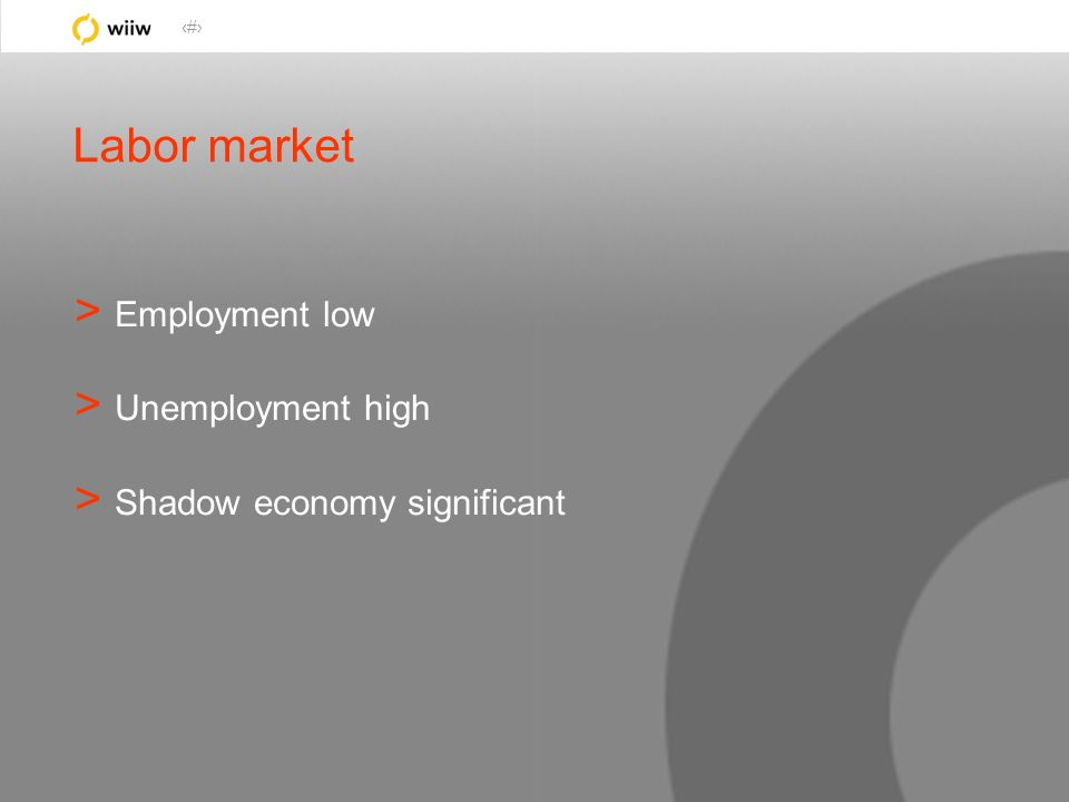 24 Labor market > Employment low > Unemployment high > Shadow economy significant