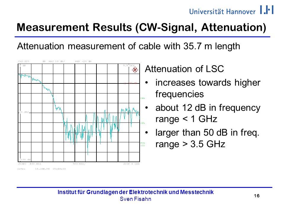 16 Institut für Grundlagen der Elektrotechnik und Messtechnik Sven Fisahn Measurement Results (CW-Signal, Attenuation) Attenuation measurement of cable with 35.7 m length Attenuation of LSC increases towards higher frequencies about 12 dB in frequency range < 1 GHz larger than 50 dB in freq.