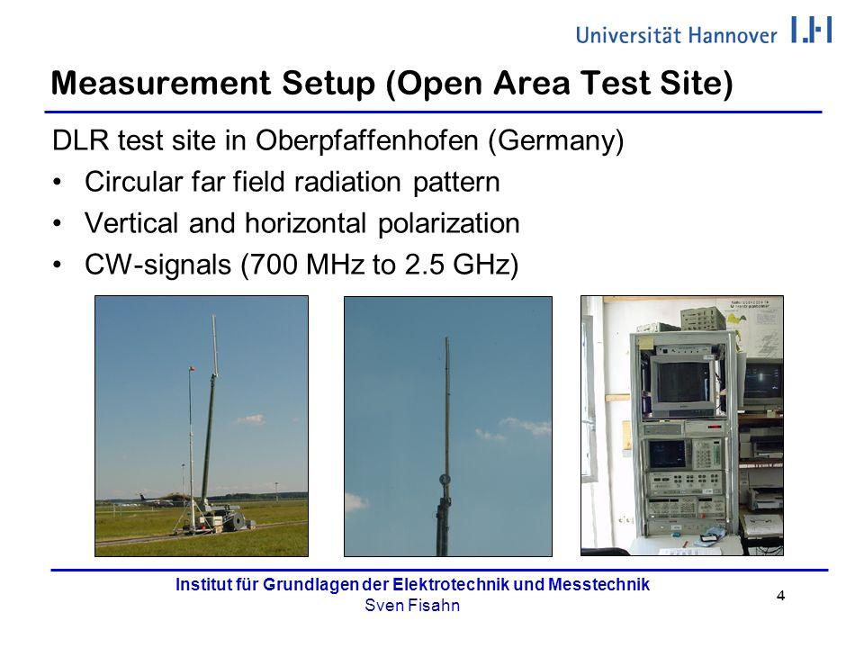 4 Institut für Grundlagen der Elektrotechnik und Messtechnik Sven Fisahn Measurement Setup (Open Area Test Site) DLR test site in Oberpfaffenhofen (Ge