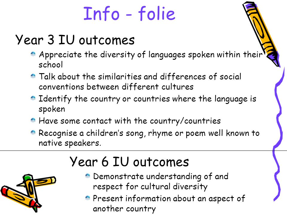 Info - folie Year 6 IU outcomes Demonstrate understanding of and respect for cultural diversity Present information about an aspect of another country Year 3 IU outcomes Appreciate the diversity of languages spoken within their school Talk about the similarities and differences of social conventions between different cultures Identify the country or countries where the language is spoken Have some contact with the country/countries Recognise a childrens song, rhyme or poem well known to native speakers.