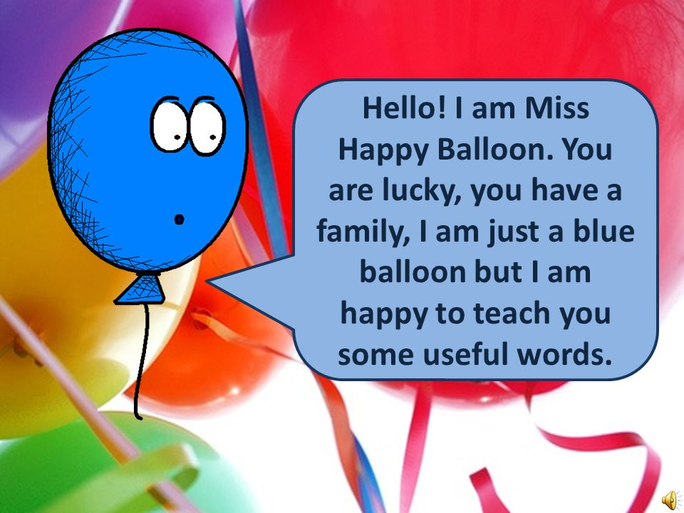 Handy Family Vocab 1 Family Members with Miss Happy Balloon