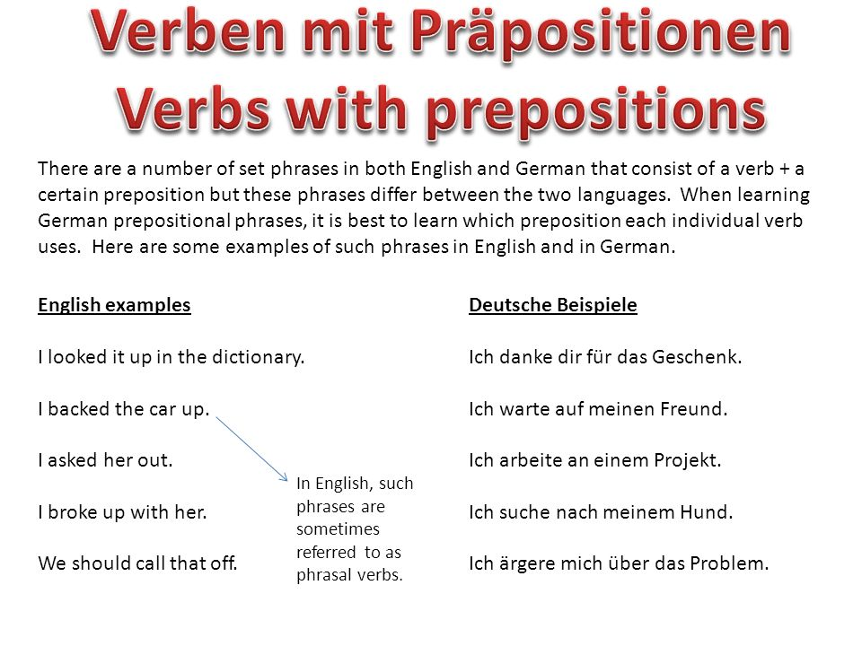 There are a number of set phrases in both English and German that consist of a verb + a certain preposition but these phrases differ between the two l