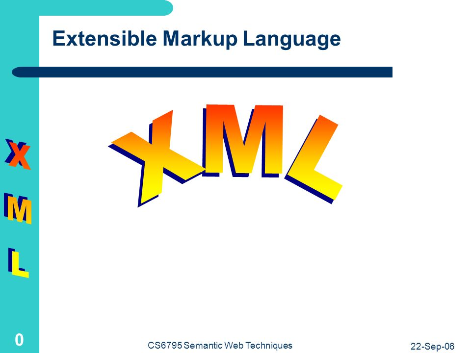 22-Sep-06 CS6795 Semantic Web Techniques 0 Extensible Markup Language