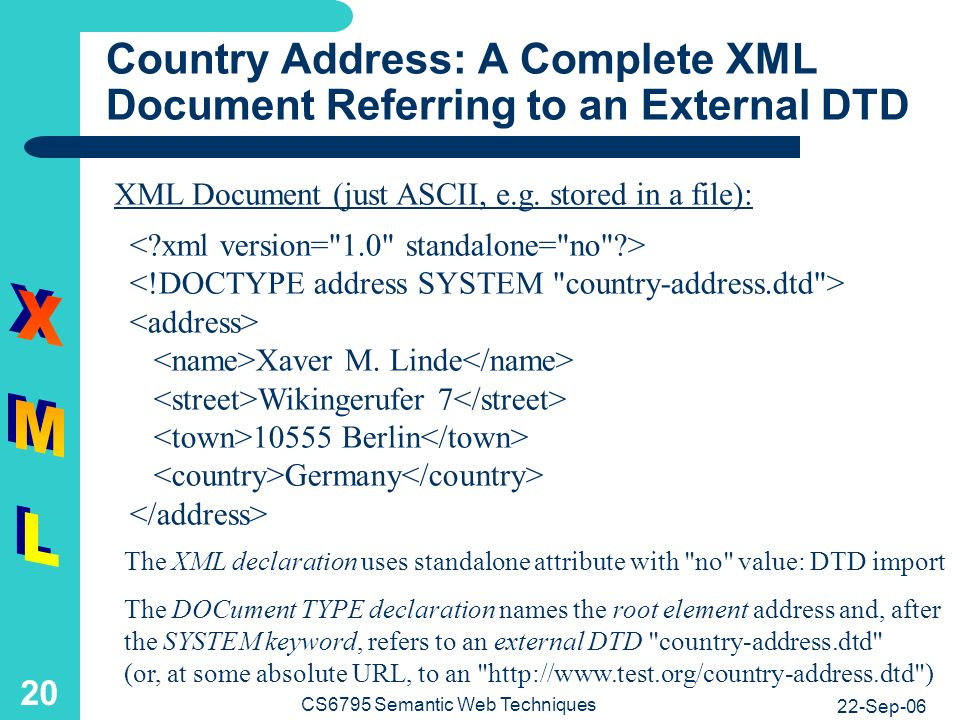 22-Sep-06 CS6795 Semantic Web Techniques 20 Country Address: A Complete XML Document Referring to an External DTD Xaver M.