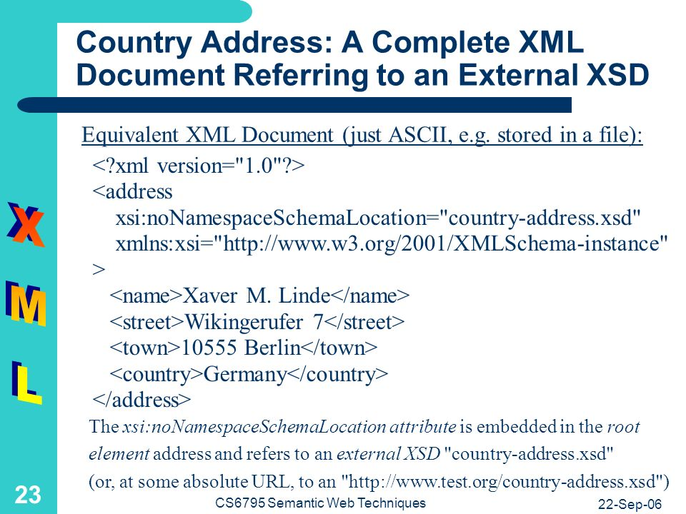 22-Sep-06 CS6795 Semantic Web Techniques 23 Country Address: A Complete XML Document Referring to an External XSD <address xsi:noNamespaceSchemaLocation= country-address.xsd xmlns:xsi= http://www.w3.org/2001/XMLSchema-instance > Xaver M.