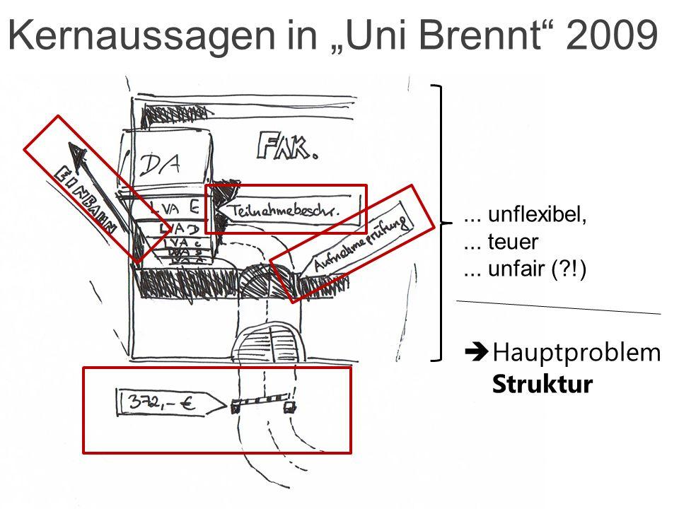 Kernaussagen in Uni Brennt 2009... unflexibel,... teuer... unfair ( !) Hauptproblem Struktur