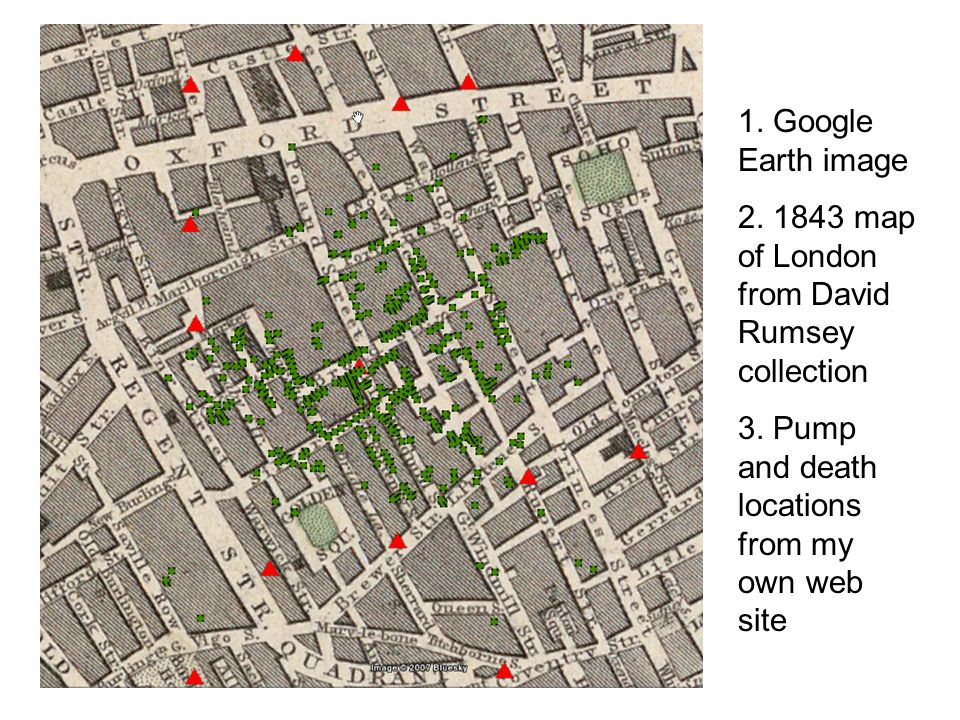 1. Google Earth image 2. 1843 map of London from David Rumsey collection 3.