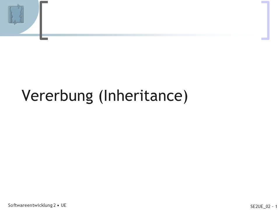 Abteilung für Telekooperation Softwareentwicklung 2 UE SE2UE_02 - 1 Vererbung (Inheritance)