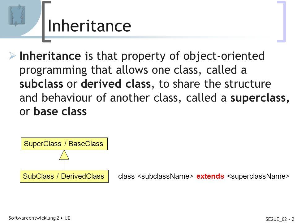 Abteilung für Telekooperation Softwareentwicklung 2 UE SE2UE_02 - 2 Inheritance Inheritance is that property of object-oriented programming that allow