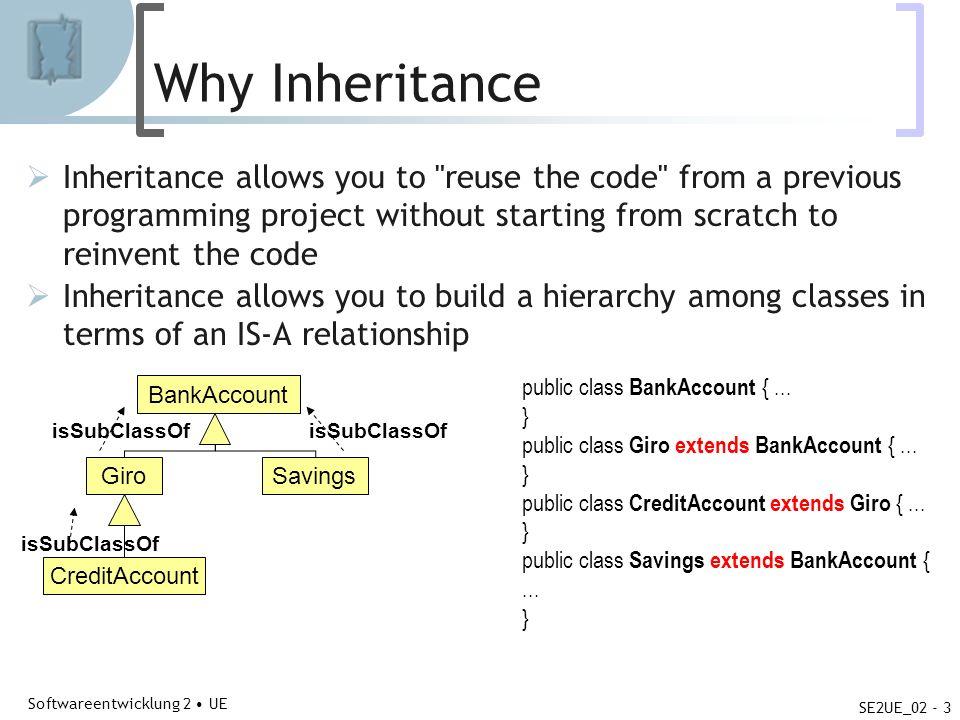 Abteilung für Telekooperation Softwareentwicklung 2 UE SE2UE_02 - 3 Why Inheritance Inheritance allows you to