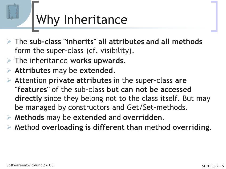 Abteilung für Telekooperation Softwareentwicklung 2 UE SE2UE_02 - 5 Why Inheritance The sub-class