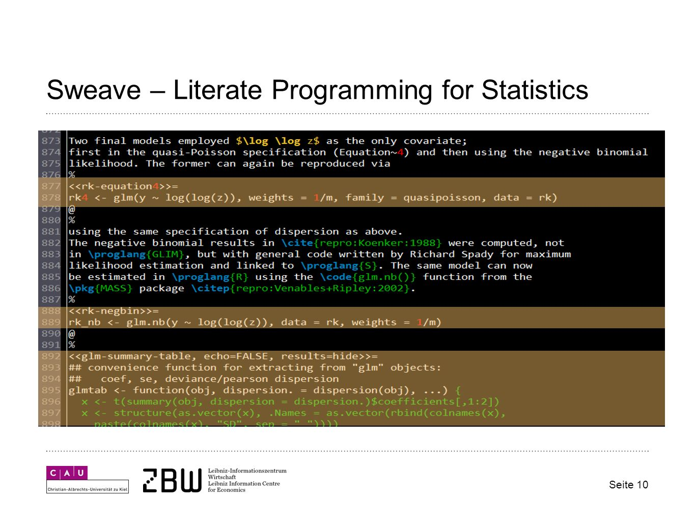 Sweave – Literate Programming for Statistics Seite 10