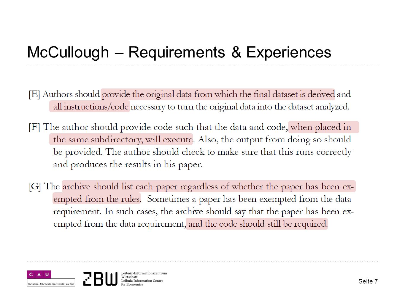 McCullough – Requirements & Experiences Seite 7