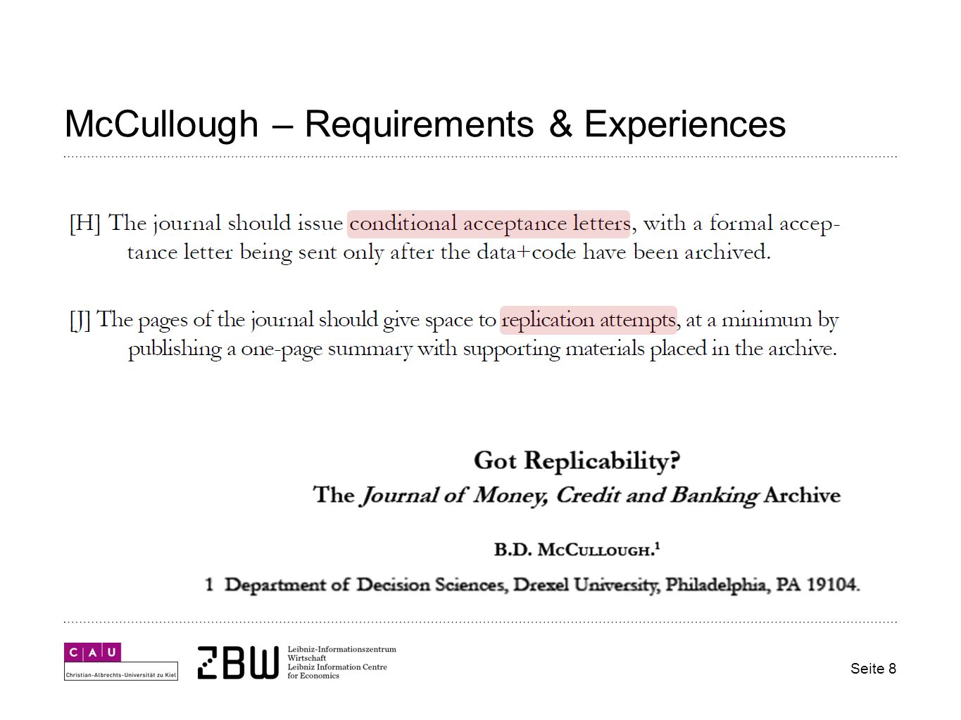 McCullough – Requirements & Experiences Seite 8