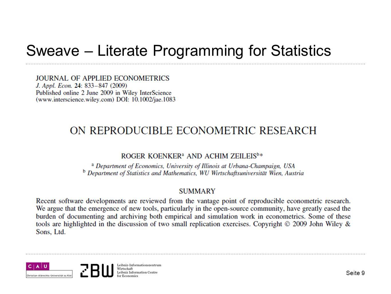 Sweave – Literate Programming for Statistics Seite 9