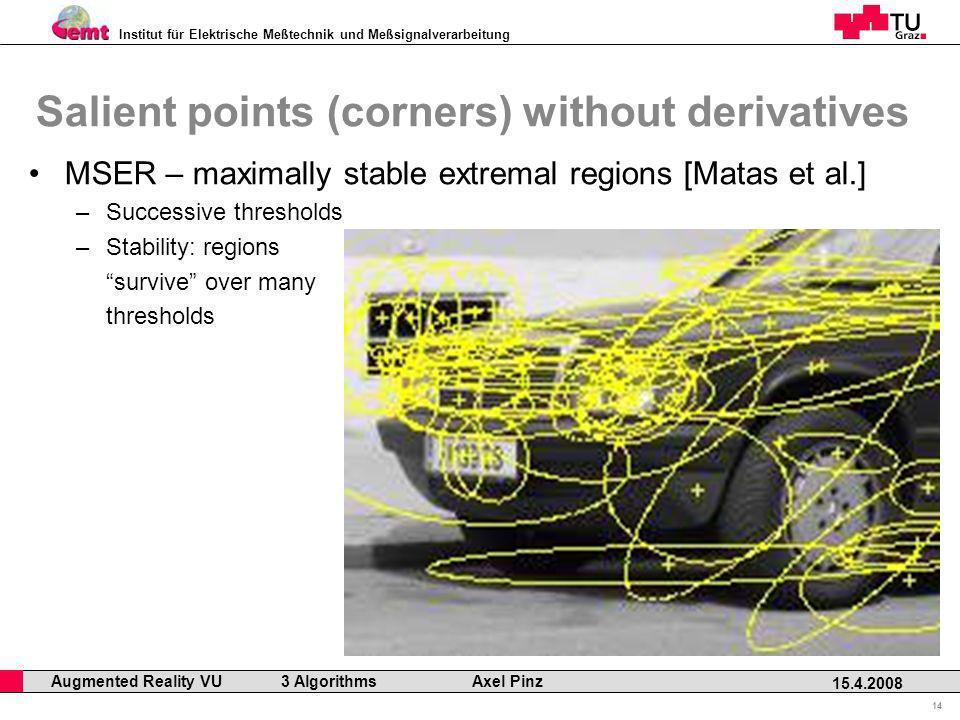 Institut für Elektrische Meßtechnik und Meßsignalverarbeitung Professor Horst Cerjak, 19.12.2005 14 15.4.2008 Augmented Reality VU 3 Algorithms Axel P