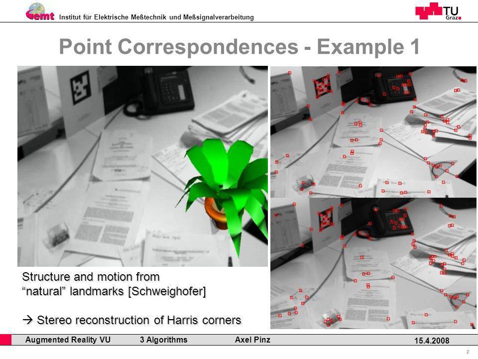 Institut für Elektrische Meßtechnik und Meßsignalverarbeitung Professor Horst Cerjak, 19.12.2005 2 15.4.2008 Augmented Reality VU 3 Algorithms Axel Pi