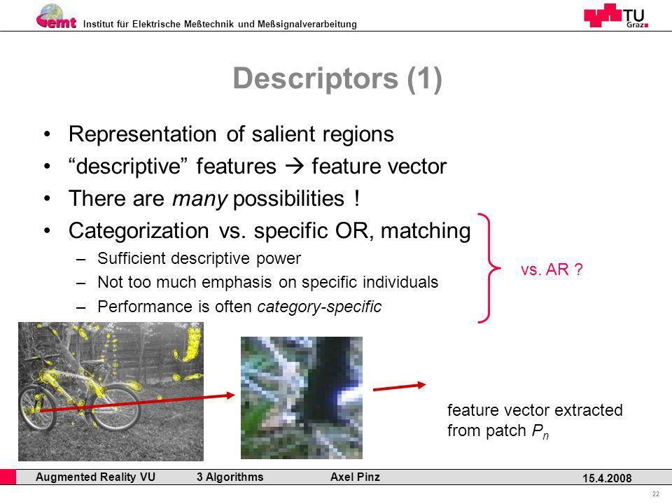 Institut für Elektrische Meßtechnik und Meßsignalverarbeitung Professor Horst Cerjak, 19.12.2005 22 15.4.2008 Augmented Reality VU 3 Algorithms Axel P