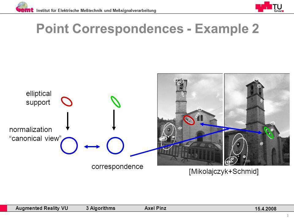 Institut für Elektrische Meßtechnik und Meßsignalverarbeitung Professor Horst Cerjak, 19.12.2005 3 15.4.2008 Augmented Reality VU 3 Algorithms Axel Pi