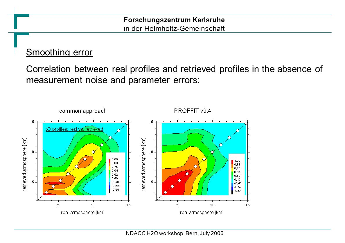 Forschungszentrum Karlsruhe in der Helmholtz-Gemeinschaft NDACC H2O workshop, Bern, July 2006 Smoothing error Correlation between real profiles and retrieved profiles in the absence of measurement noise and parameter errors: