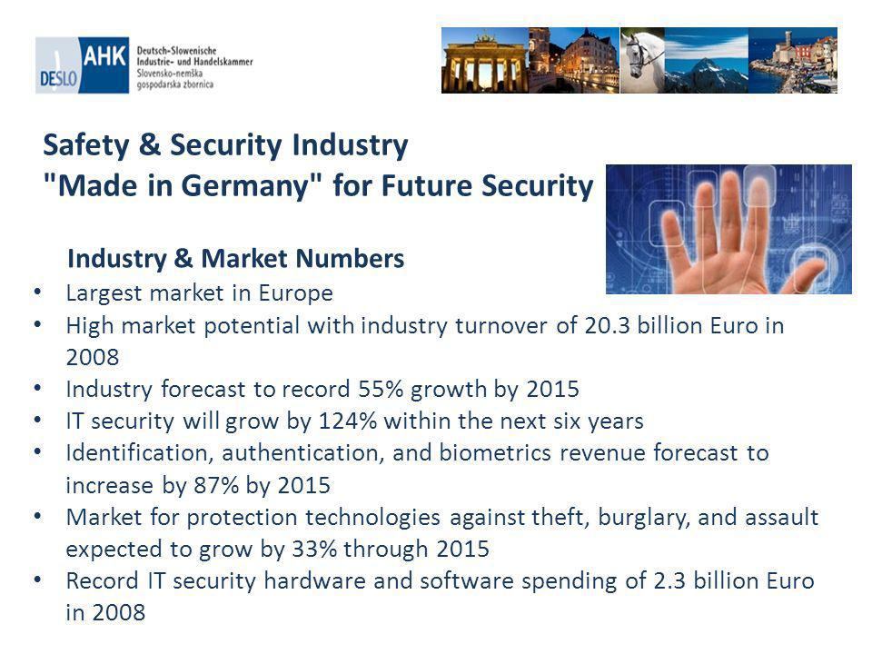 Safety & Security Industry Made in Germany for Future Security Largest market in Europe High market potential with industry turnover of 20.3 billion Euro in 2008 Industry forecast to record 55% growth by 2015 IT security will grow by 124% within the next six years Identification, authentication, and biometrics revenue forecast to increase by 87% by 2015 Market for protection technologies against theft, burglary, and assault expected to grow by 33% through 2015 Record IT security hardware and software spending of 2.3 billion Euro in 2008 Industry & Market Numbers
