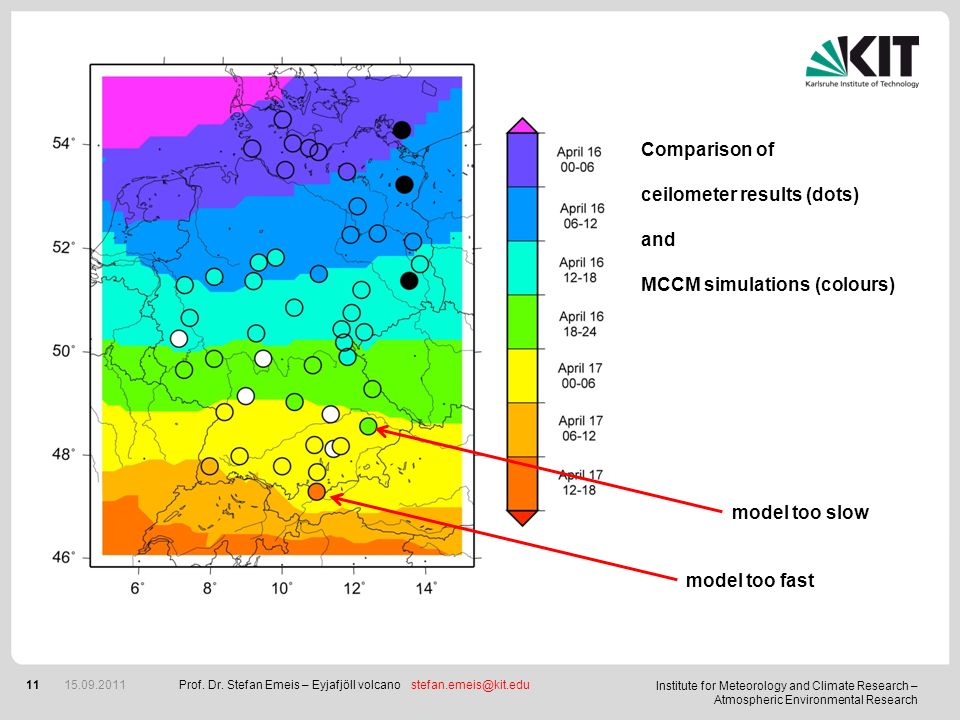 Institute for Meteorology and Climate Research – Atmospheric Environmental Research 11 15.09.2011 Comparison of ceilometer results (dots) and MCCM sim