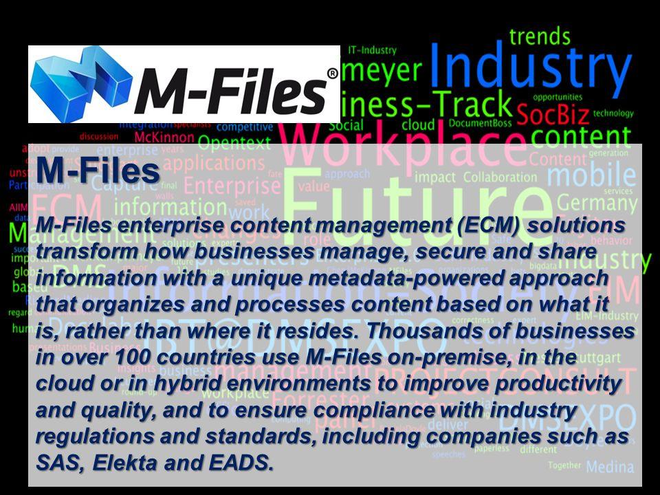 23 BigData AnalyticsPanel-Diskussion DMS EXPO 2013Moderation Dr. Joachim Hartmann M-Files M-Files enterprise content management (ECM) solutions transf